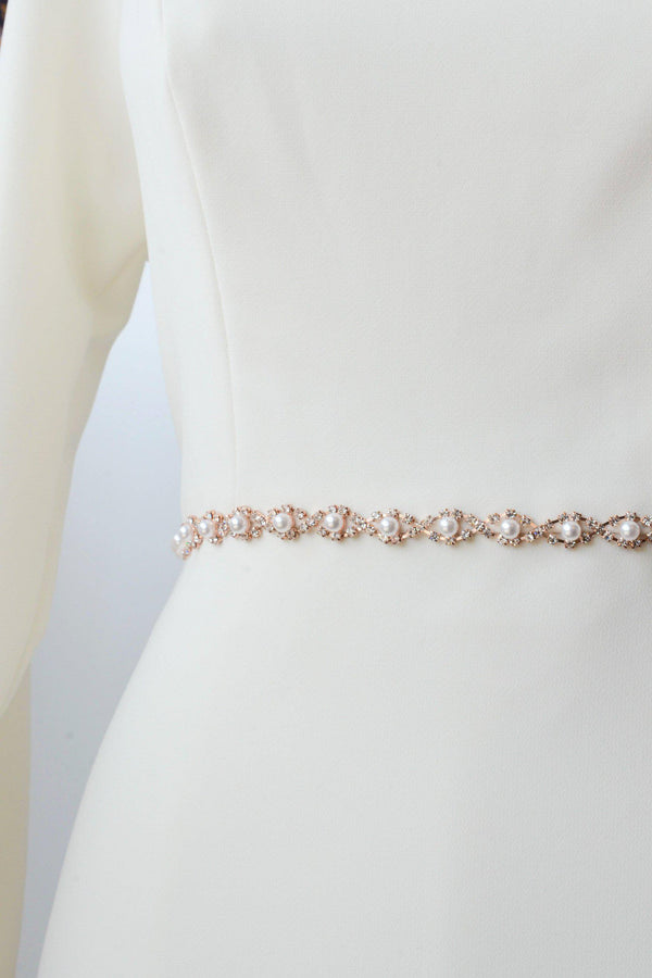 rose gold metal belt accented with pearls from bridal shop in salt lake city utah