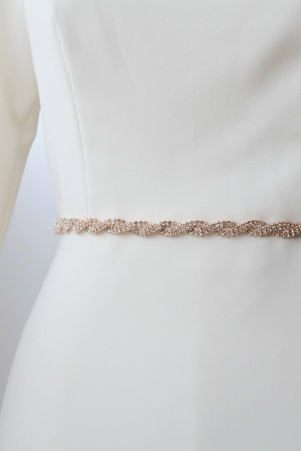 Rose gold metal belt, twisted with crystals from bridal shop in salt lake city utah