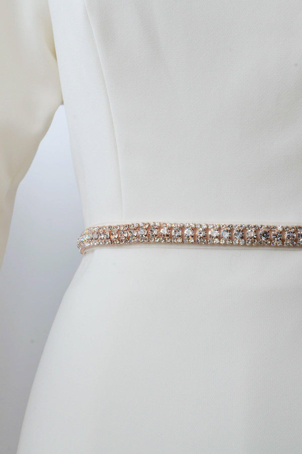 Rose gold metal belt with a minimal look accented with crystals from bridal shop in salt lake city utah