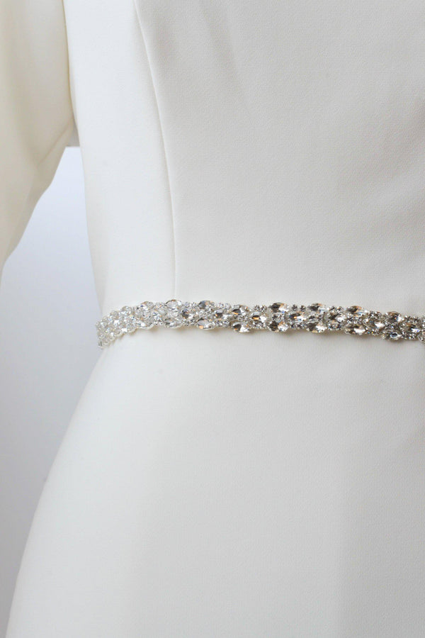 silver metal belt accented with crystals from bridal shop in salt lake city utah