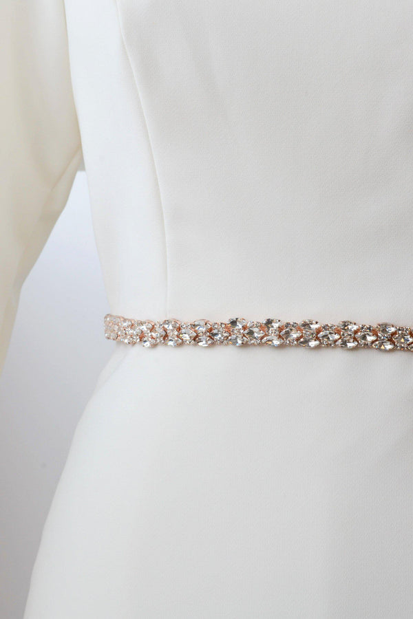 Rose gold metal belt accented with crystals from bridal shop in salt lake city utah