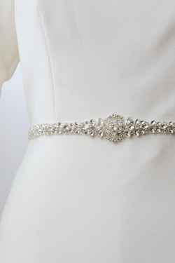 Silver belt with crystal encrusted circle from bridal shop in salt lake city utah