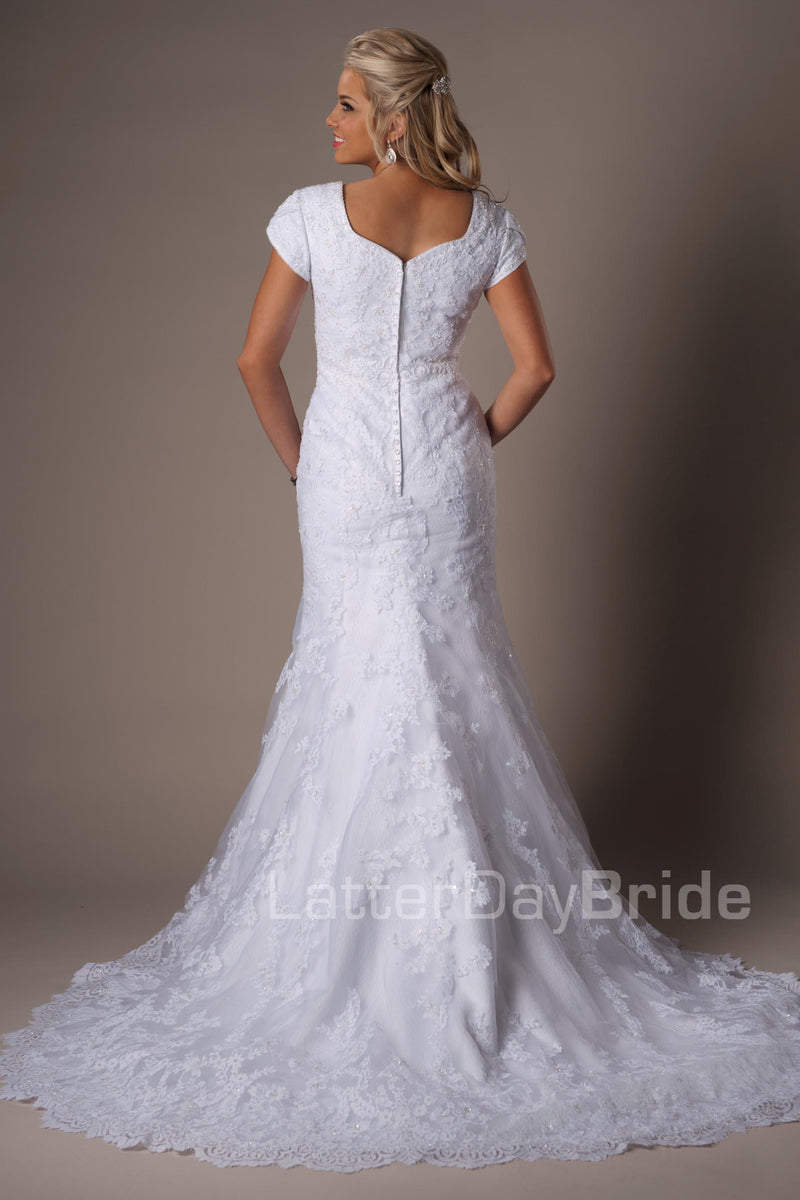 Back of Mermaid modest wedding dress, style Temperance, is part of the Wedding Collection of LatterDayBride, a Utah Wedding Shop.