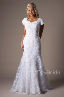 Mermaid modest wedding dress, style Temperance, is part of the Wedding Collection of LatterDayBride, a Utah Wedding Shop.