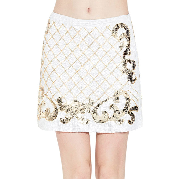 Sequins mini straight skirt
