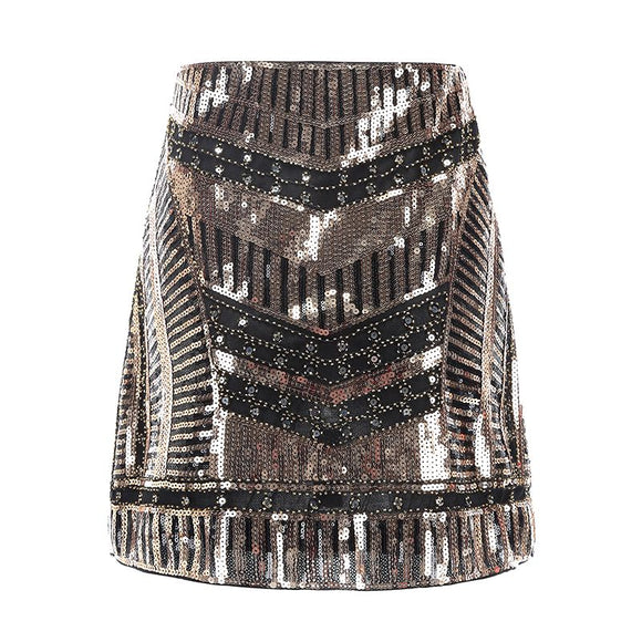 High Waist Heavy Beading Sequins Skirt