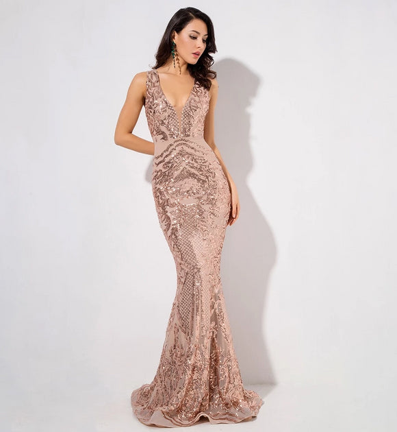 Geometric Sequins Mesh Lining Sleeveless long Dresses