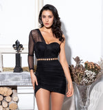Black Tube Top Pleated Polka Dot Material Bodycon Dress