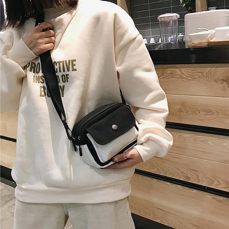 Contrast Square Bags Diagonal Shoulder Bags