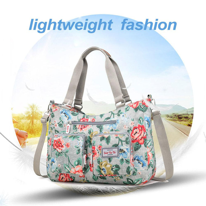 Large Capacity Women Floral Print Nylon Shoulder Bag