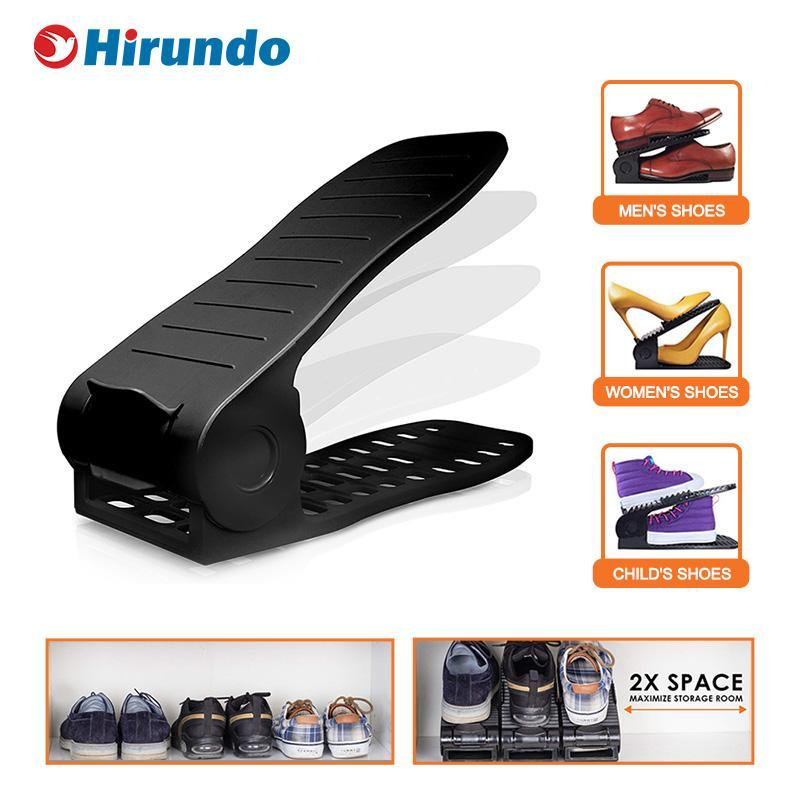 Hirundo Adjustable Shoe Rack Space Saver (Black) - PAPA BEAR HOME