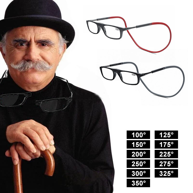 Telescopic magnetic hanging neck reading glasses