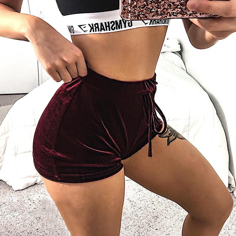 Ladies velvet shorts with high waist
