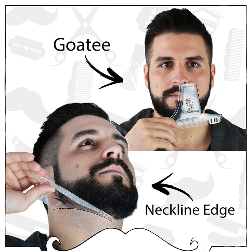8 in 1 Comb Multi-liner Beard Shaper Template Comb Kit Transparent