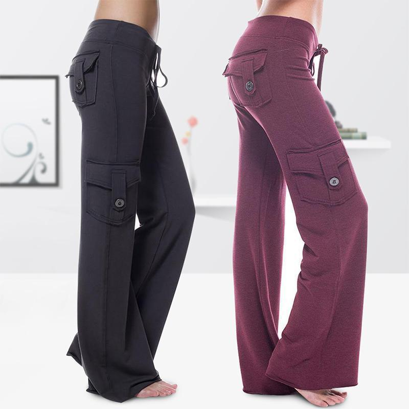 Elastic eco-friendly bamboo yoga pants with pockets