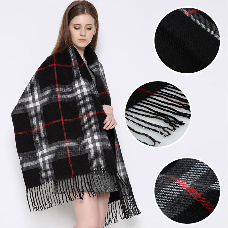 Plaid Shawl Wrap With Pockets