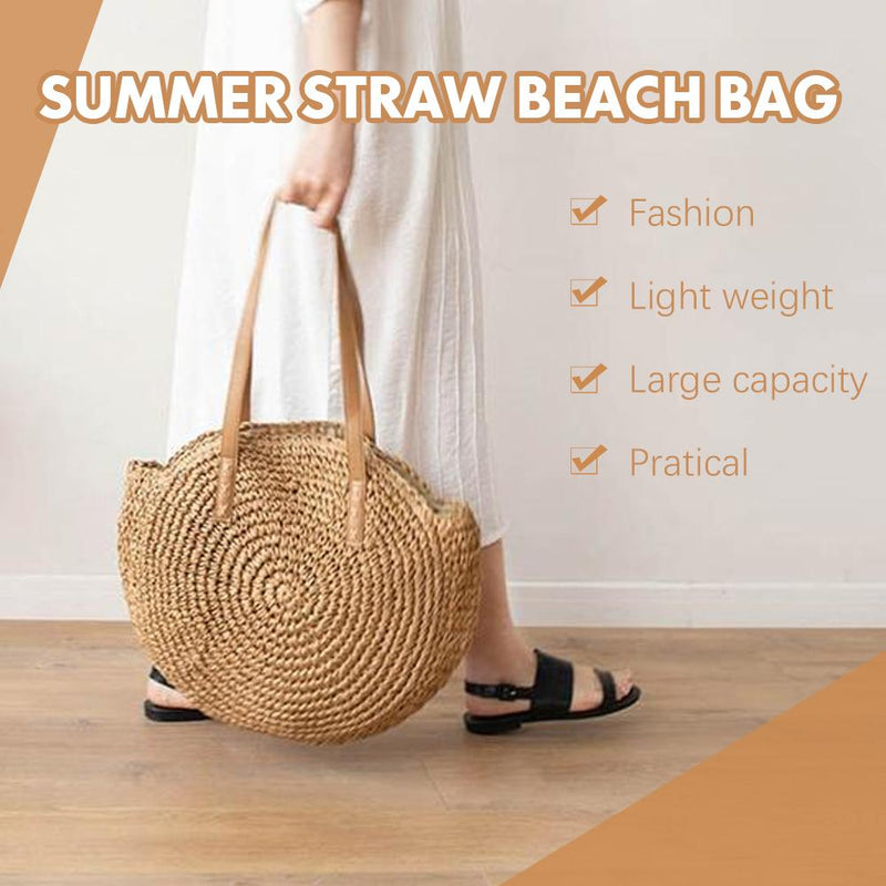 Hand Woven Round Ladies Bohemian Summer Straw Beach Bag