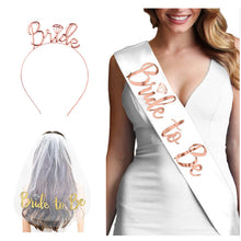 Load image into Gallery viewer, Wedding Decorations Bridal Shower Wedding Veil Team Bride To Be Satin Sash Bachelorette Party Girl Hen Party Decoration Supplies