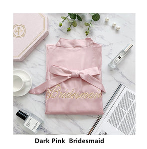 JRMISSLI custom wedding date personality kimono satin pajamas wedding robe bridesmaid mother of the bride robes Maid of Honor