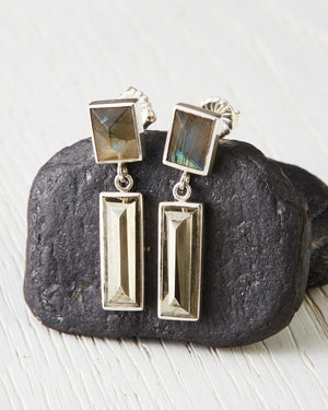 Labradorite and Pyrite Earrings