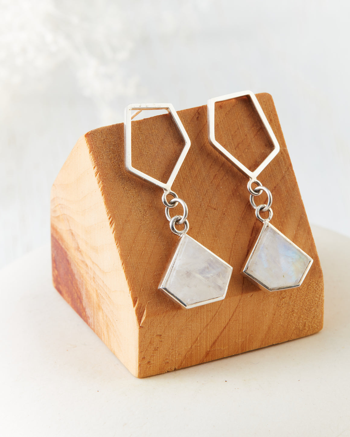 Geometric Moonstone Earrings