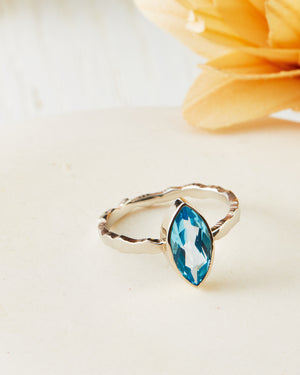 Swiss Blue Topaz Ridge Ring