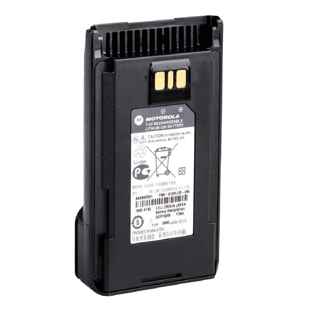 Motorola-Accessory-AAK66X501 Battery-Motorola AAK66X501 Battery, FNB-V134LIIS, 2300 mAh, Li-ion, Intrinsically Safe (IS) Note: For compliance with intrinsically safe requirements, the radio must be ordered from the factory with the intrinsically safe option and subsequent markings in addition to using an intrinsically safe battery. Simply putting an IS battery on a non-IS radio body DOES NOT make the combination IS.-Radio Depot