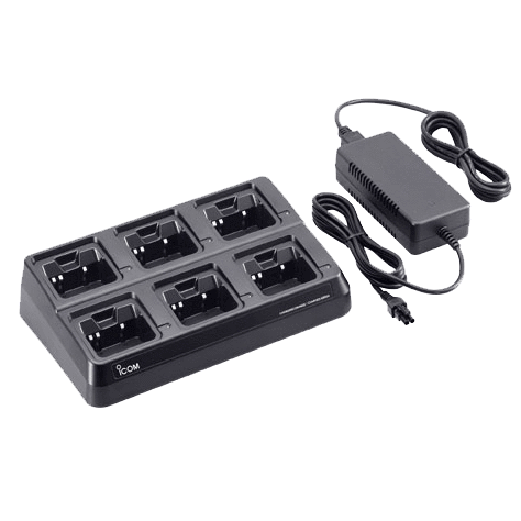 Icom-Accessory-ICOM BC197-12 Six Unit Charger-ICOM BC197-12 Six Unit Charger for radios with the BP265 Li-ion battery. Includes AC adapter and cups installed. 100-240V with US plug.-Radio Depot