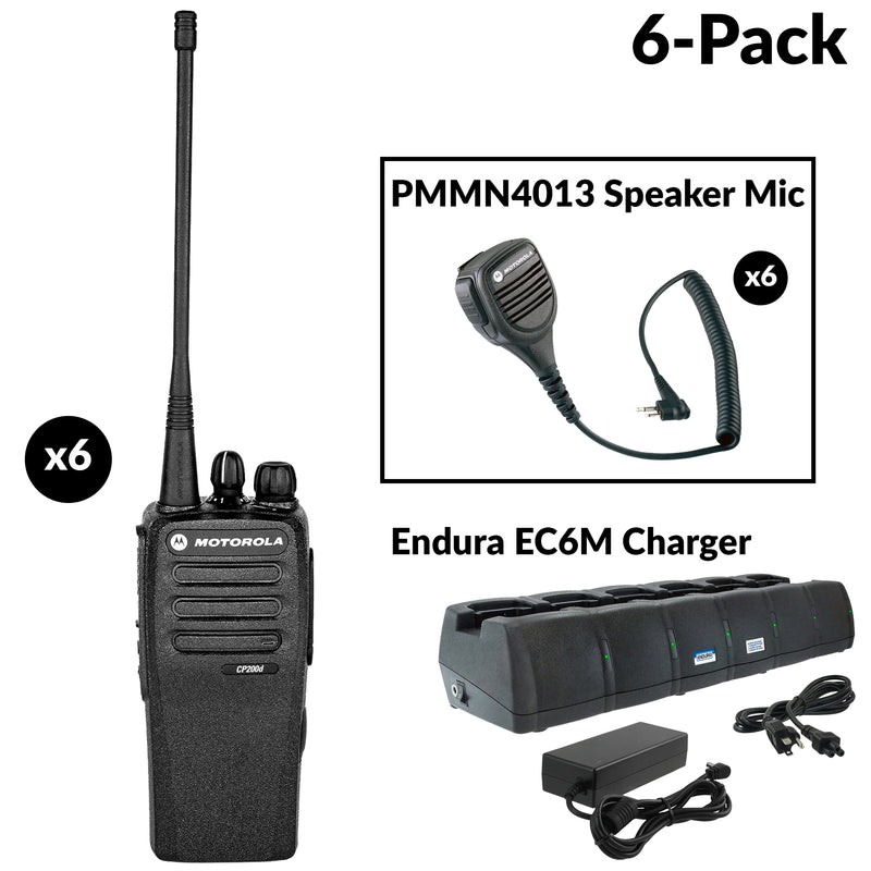 CP200D six radio bundle with 6 bank charger and mics