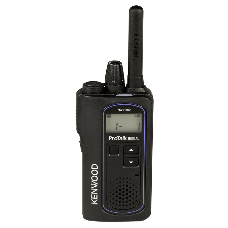 Kenwood NX-P500 two-way radio. Front side of the radio.