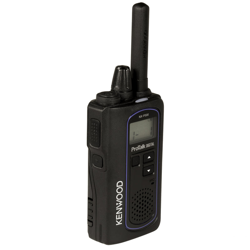 Kenwood NX-P500 two-way radio. Front left side of the radio.