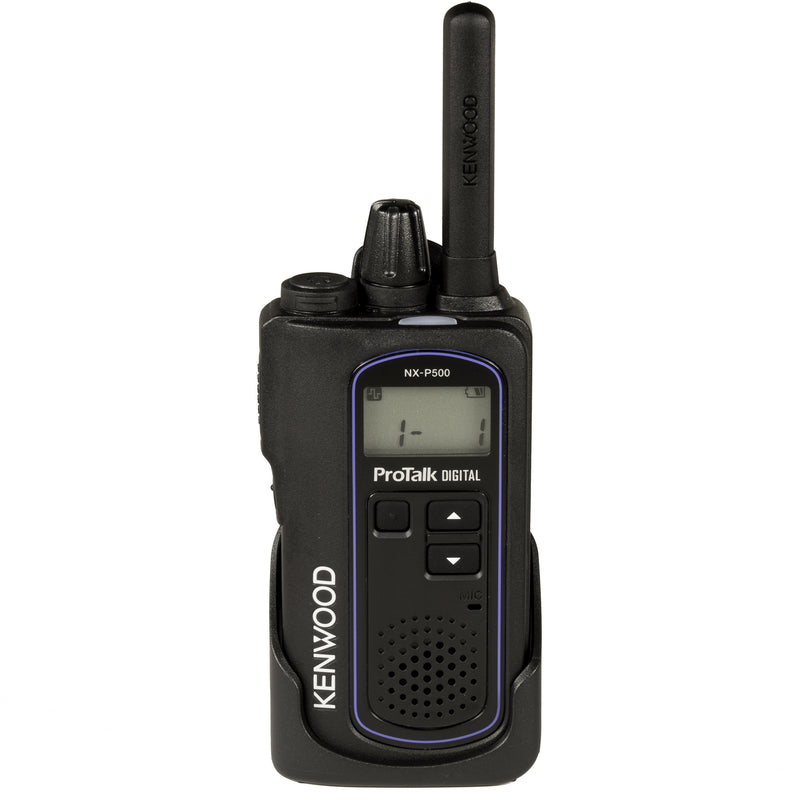 Kenwood NX-P500 two-way radio. Front side of the radio in the included holster.