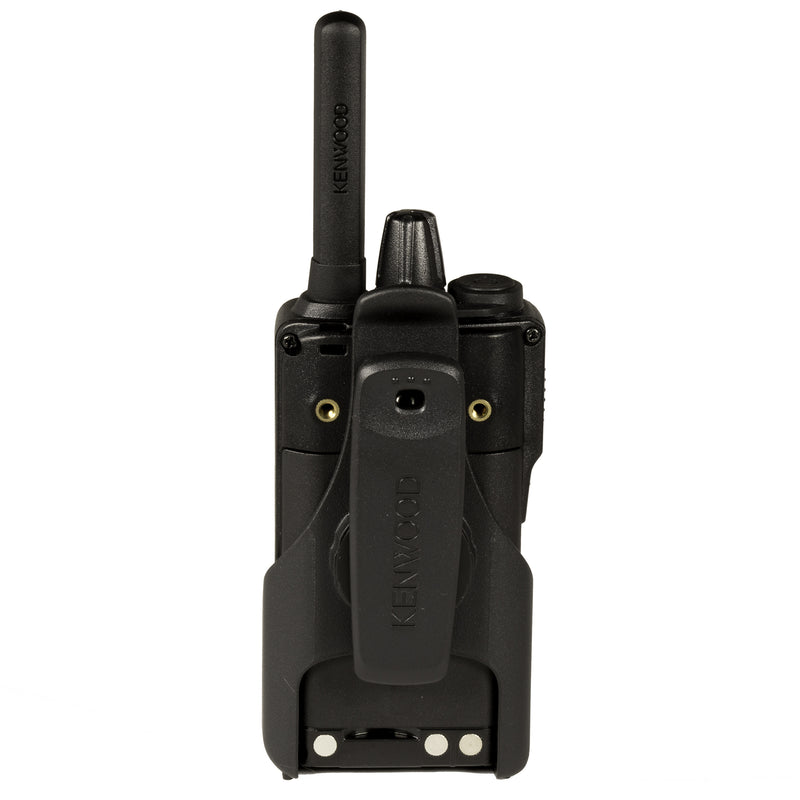 Kenwood NX-P500 two-way radio. Back of the radio in the included holster.