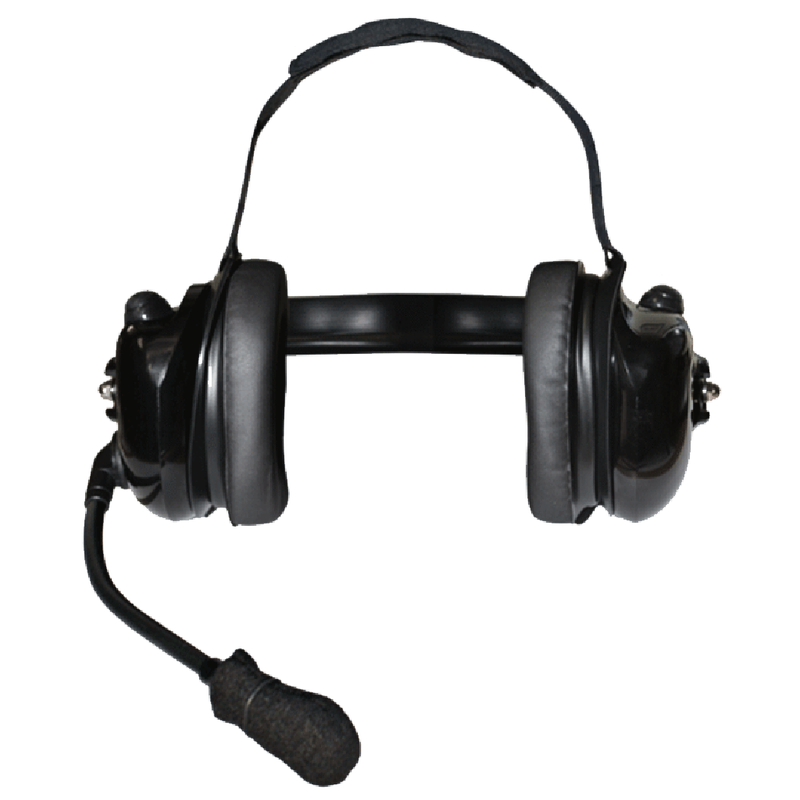 Klein Electronics-Accessory-Titan Dual-Comm Headset-Klein Electronics Titan Dual-Comm High Noise Headset Available in Black Dual Muff, Behind-the-Head design (can be worn with a hardhat), Flex Boom Microphone, Dual Earshell PTTs for control of two separate devices, Hear each device on one side of headset.Note: Requires a K-Cord Radio Cord for Proper Operation (2 required if used with 2 devices)-Radio Depot