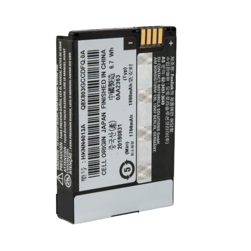 Front view of the Motorola-Accessory-HKNN4013 BT90 Li-ion Battery. This Li-ion battery has a 1800 mAh capacity and is designed to work with all SL7000 series radios.-Radio Depot
