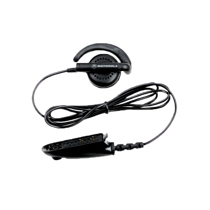 Full kit view of the Motorola BDN6719 One-Wire Receive Only Flexible Earpiece. This unit is only compatible with the Motorola NNTN8383 Remote Speaker Microphone.