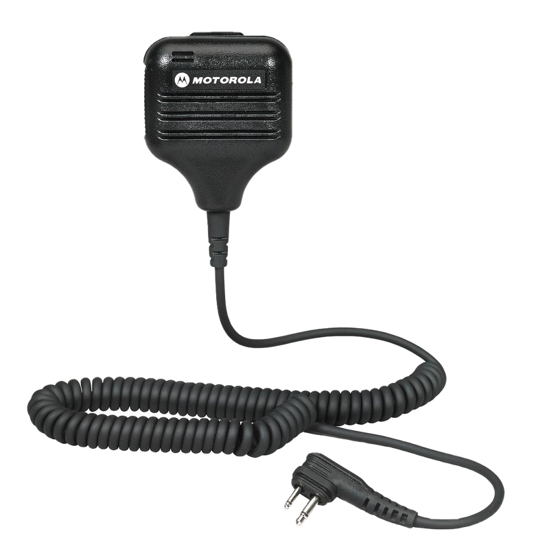 Full kit view of the Motorola HMN9051 Remote Speaker Microphone (RSM) with swivel clothing clip.