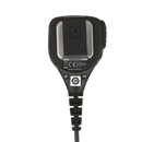 Back view of the intrinsically safe Motorola PMMN4013 Remote Speaker Microphone (RSM) with integrated audio jack and swivel clothing clip.
