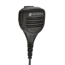 Front view of the Motorola PMMN4013 Remote Speaker Microphone (RSM). This unit is intrinsically safe (UL approved) with an integrated audio jack in the microphone head and a swivel clothing clip.