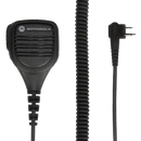 Kit component view of the intrinsically safe Motorola PMMN4013 Remote Speaker Microphone (RSM) with integrated audio jack and swivel clothing clip.