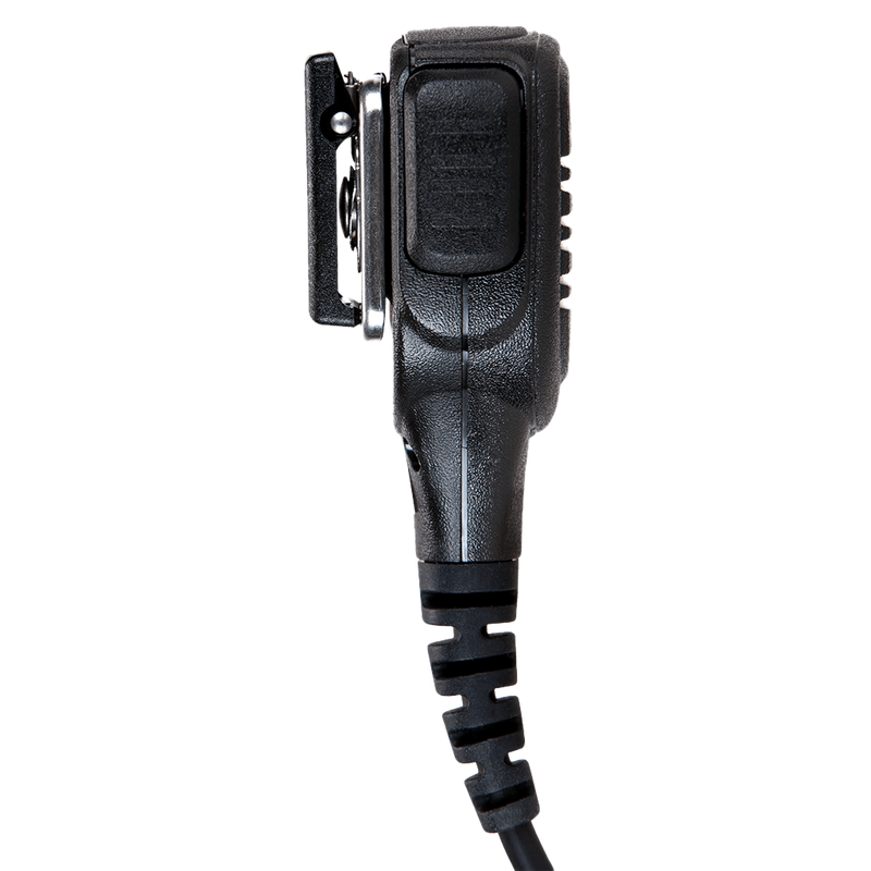 Left side view of the Motorola PMMN4025 IMPRES Remote Speaker Microphone (RSM) with 3.5mm audio jack - FM / UL Approved.