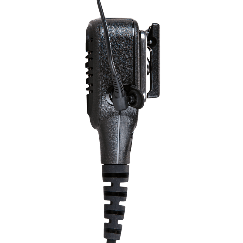 Right side view of the Motorola PMMN4025 IMPRES Remote Speaker Microphone (RSM) with 3.5mm audio jack - FM / UL Approved.