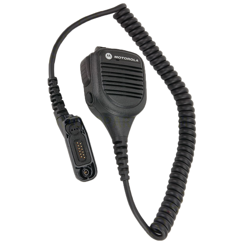 Full kit view of the Motorola PMMN4046 IMPRES Remote Speaker Microphone with Volume control. This unit is submersible with an IP57 rating and is FM / UL Approved.