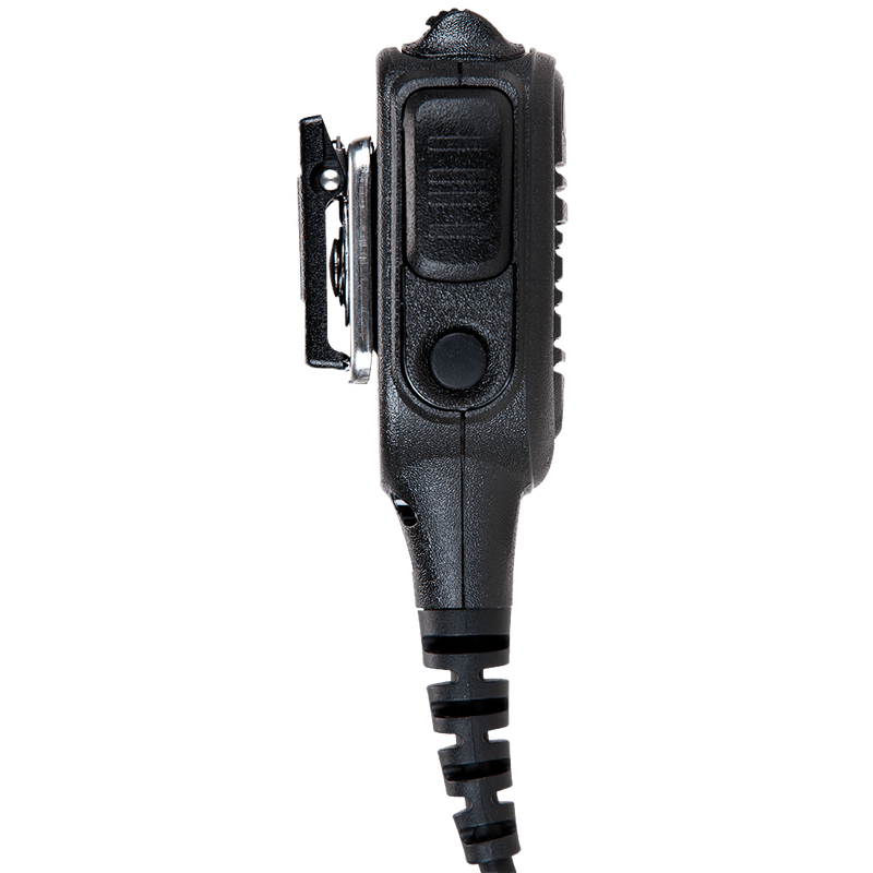 Left side view of the Motorola PMMN4046 IMPRES Remote Speaker Microphone with Volume control. This unit is submersible with an IP57 rating and is FM / UL Approved.