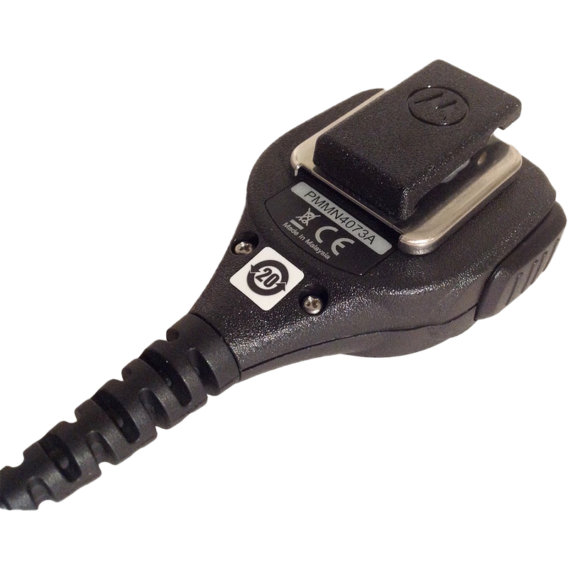 Back view of the Motorola PMMN4073 IMPRES Compact Remote Speaker Microphone (RSM). This unit features a 3.5mm audio jack and is UL Approved (intrinsically safe).