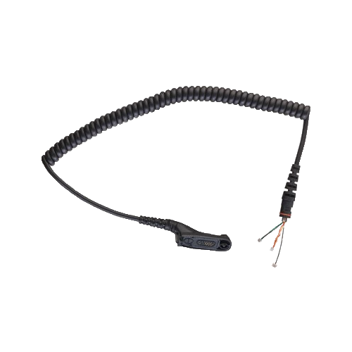 Full kit view of the Motorola RLN6075 Replacement Coil Cord Kit. This unit operates as a replacement coil cord for Motorola Remote Speaker Microphones (PMMN4025, PMMN4046, and PMMN4050).