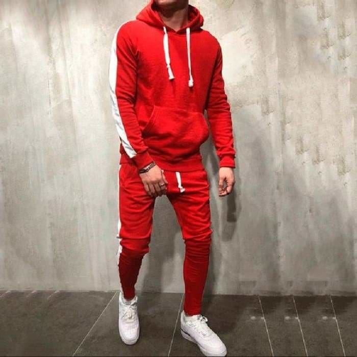 2 Pieces Sets Tracksuit Men New Brand Autumn Winter Hooded Sweatshirt +Drawstring Pants - red / M - mens gym