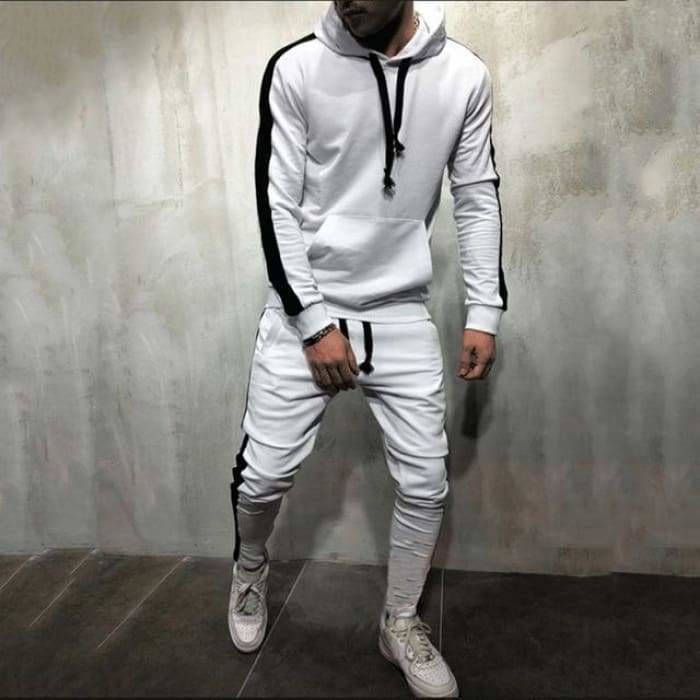 2 Pieces Sets Tracksuit Men New Brand Autumn Winter Hooded Sweatshirt +Drawstring Pants - Bibra.Store