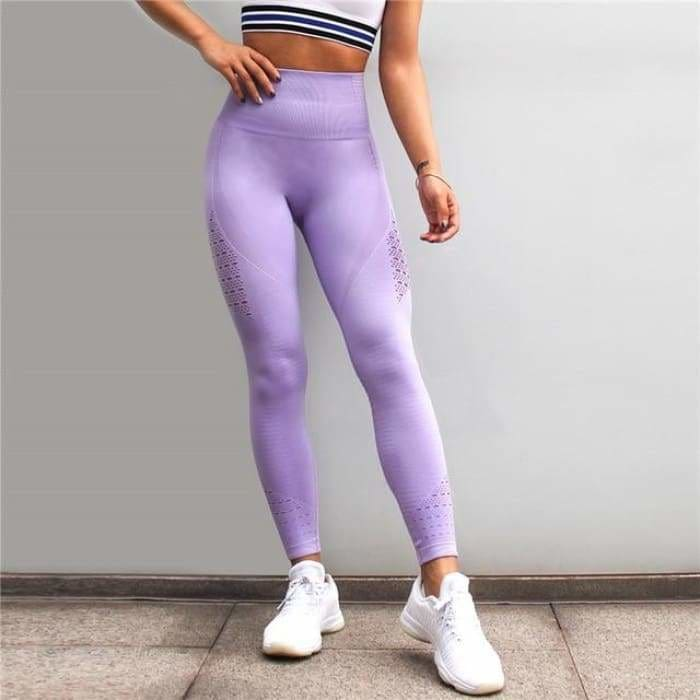 2 Pieces Sports Suit For Women Fitness Seamless Sports Bra High Waist Tummy Control Gym Leggings Hollow Out Yoga Sets - Lavender Leggings /