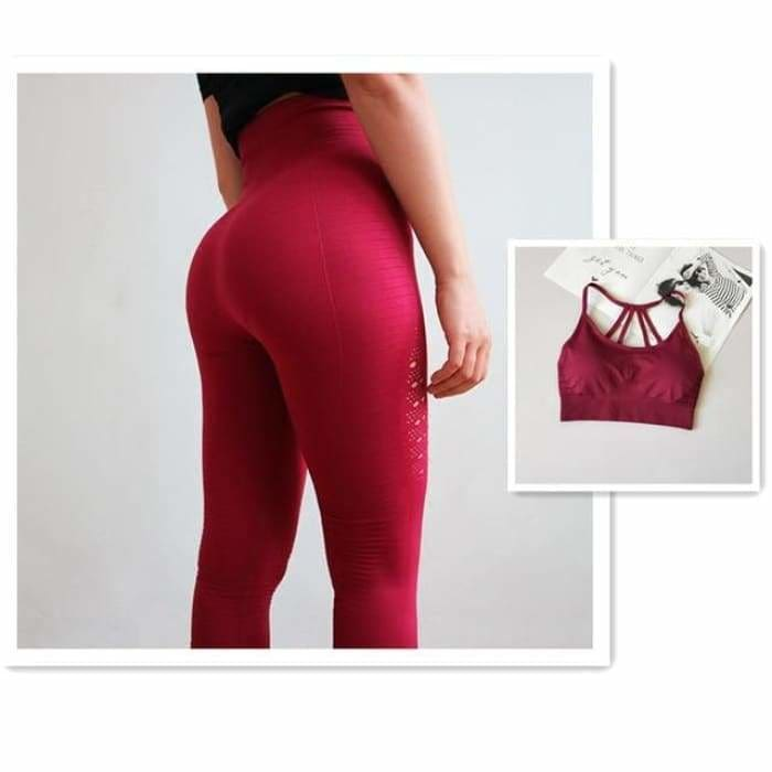 2 Pieces Sports Suit For Women Fitness Seamless Sports Bra High Waist Tummy Control Gym Leggings Hollow Out Yoga Sets - Red Suit / S -